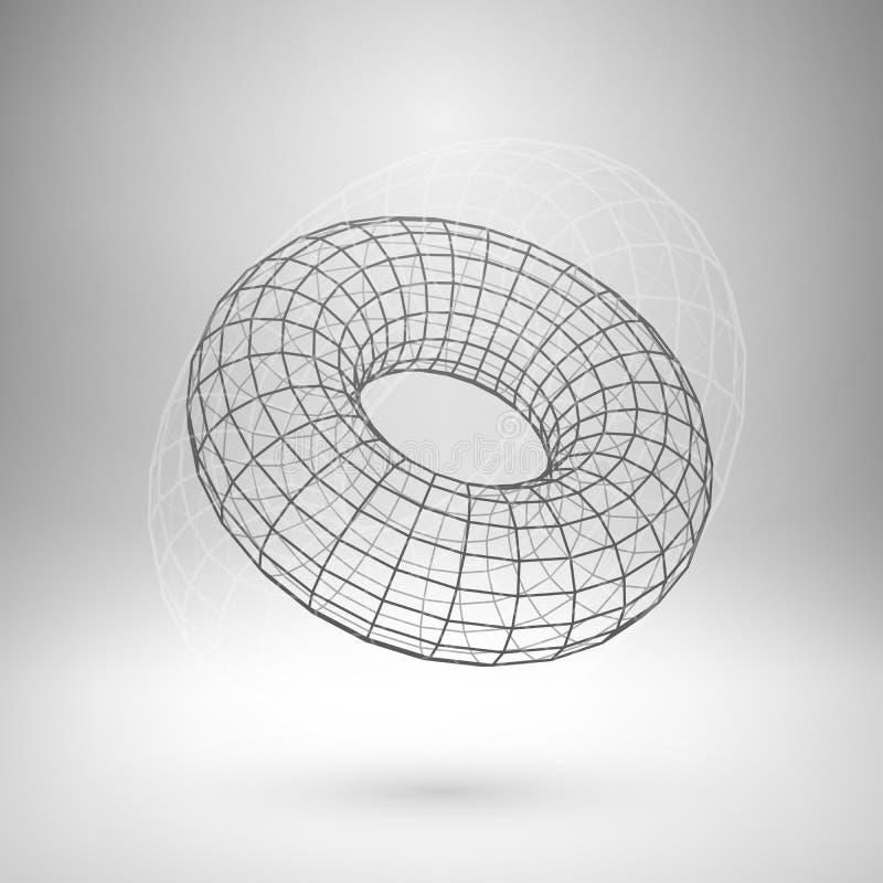 Polygonal torus för Wireframe ingrepp royaltyfri illustrationer