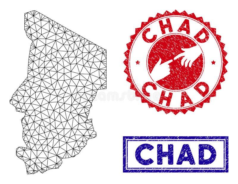 Polygonal tr?dram Chad Map och Grungest?mplar vektor illustrationer