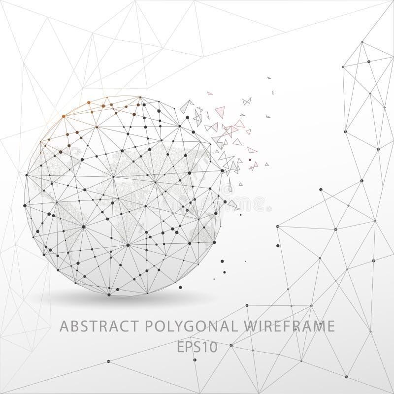 Polygonal trådram för abstrakt jordklot på vit bakgrund stock illustrationer