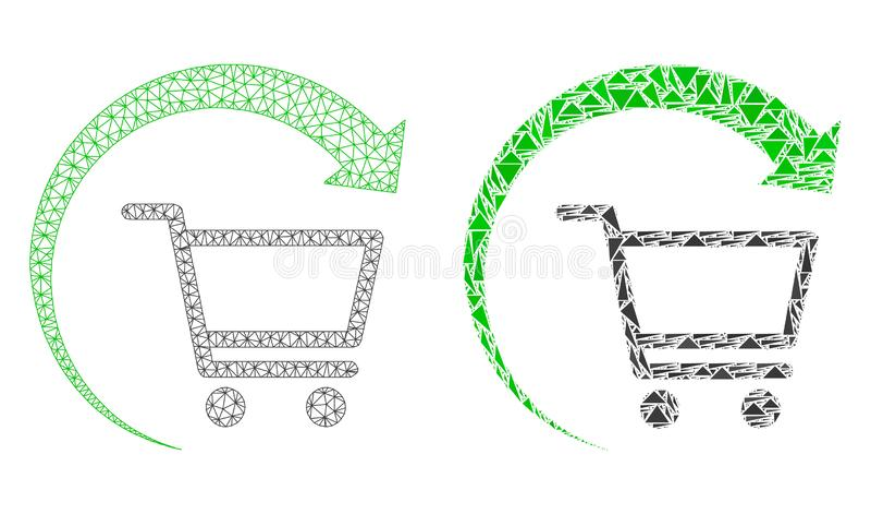 Polygonal trådram Mesh Repeat Purchase Order och mosaisk symbol vektor illustrationer