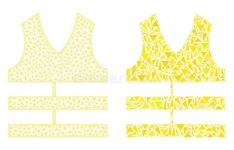 Polygonal trådram Mesh Safety Vest och mosaisk symbol stock illustrationer