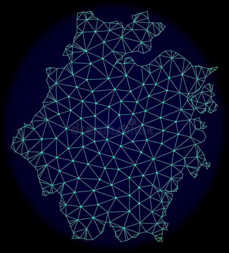 Polygonal trådram Mesh Vector Abstract Map av det Zhejiang landskapet vektor illustrationer