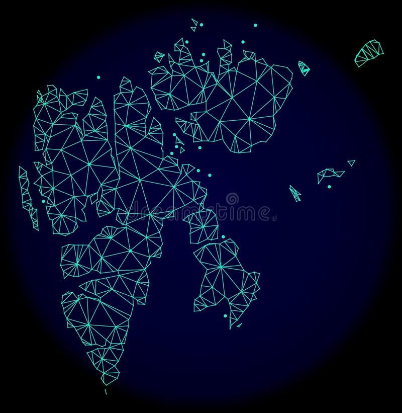 Polygonal trådram Mesh Vector Abstract Map av Svalbard öar vektor illustrationer