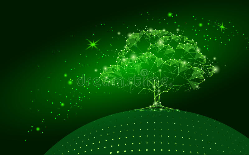 Polygonal tree on dark green sky background. Abstract Earth eco globe concept. Connected dot line point art life root illus stock illustration