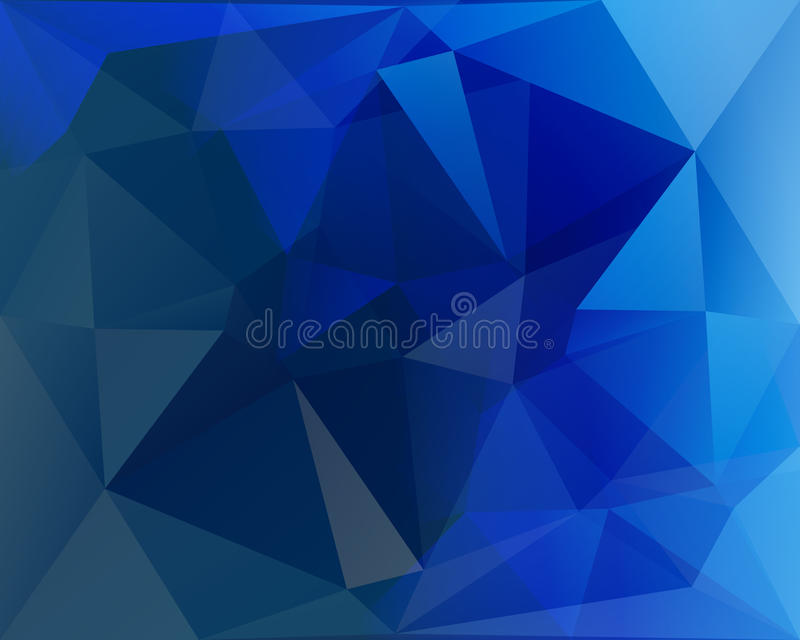 Polygonal triangle vector background, blue, white and turquoise stock illustration