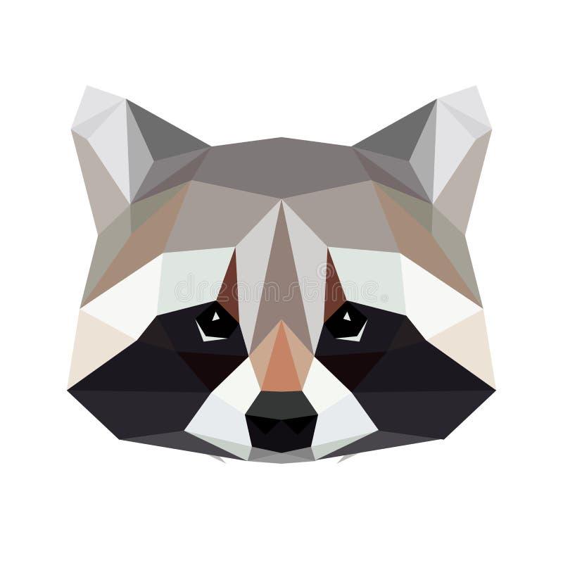 Polygonal tvättbjörn för vektor som isoleras på vit Låg poly tvättbjörnillustration vektor illustrationer