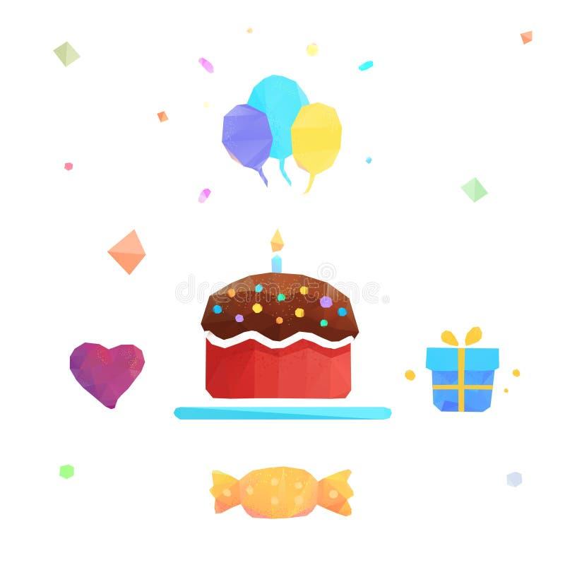 Polygonal vector birthday cake. Birthday cake flat icon with long shadow,eps10 stock illustration