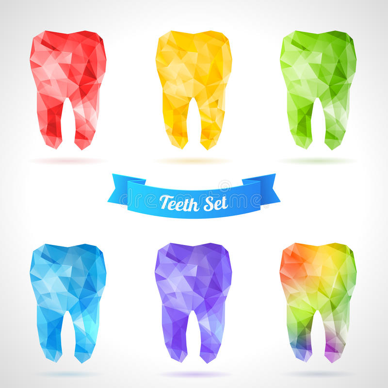 Polygonal vector set of teeth. Rainbow tooth. Abstract vector illustration. Dental background in origami style. Vector background. Low-poly colorful style stock illustration