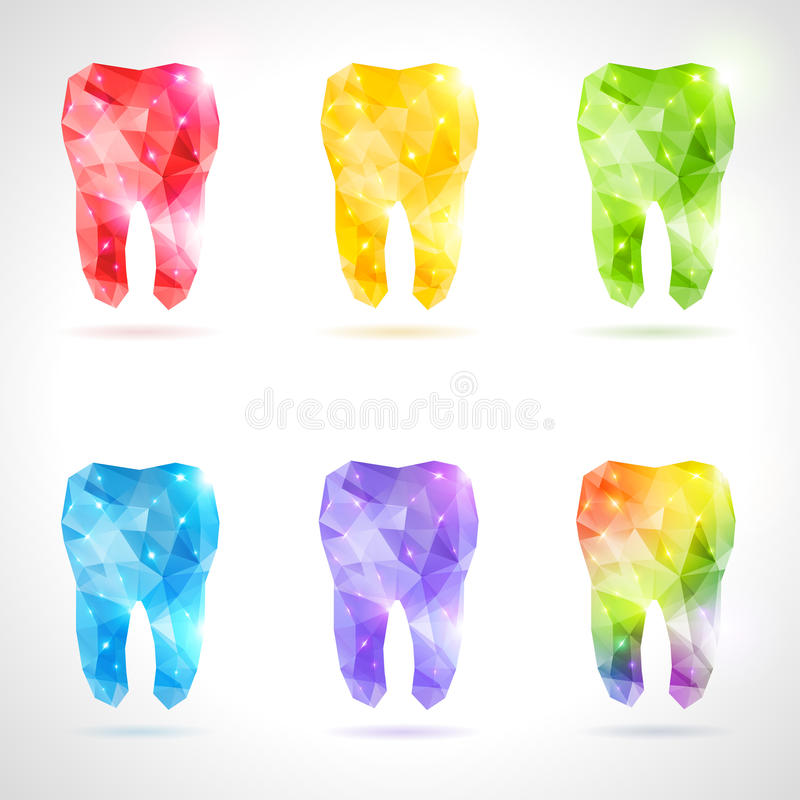Polygonal vector set of teeth. vector illustration