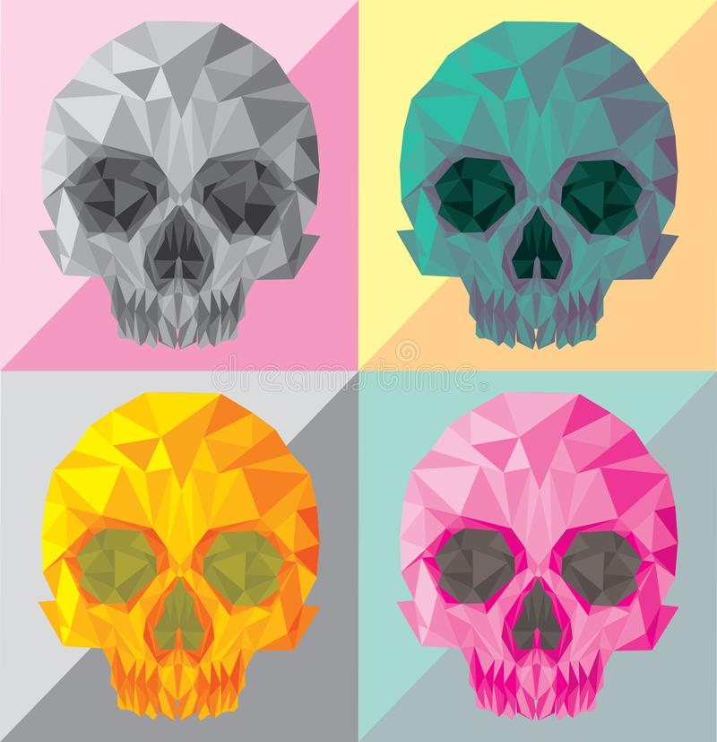 Polygonal vektor för skallepopkonst vektor illustrationer