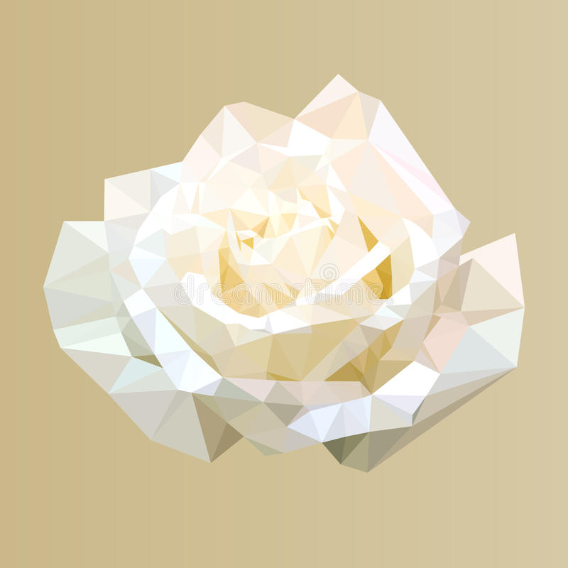 Polygonal white rose, polygon abstract flower, vector royalty free illustration