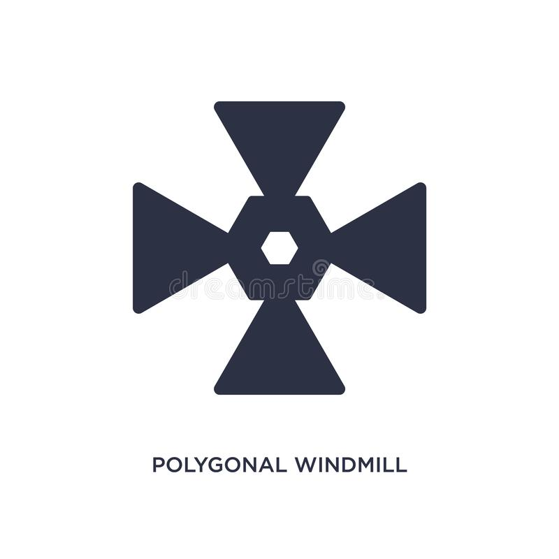 polygonal windmill icon on white background. Simple element illustration from geometry concept vector illustration
