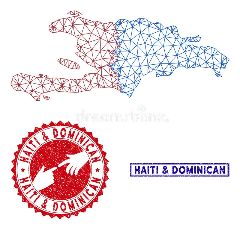 Polygonal Wire Frame Haiti and Dominican Republic Map and Grunge Stamps royalty free illustration