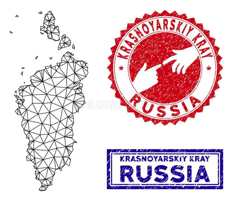Polygonal Wire Frame Krasnoyarskiy Kray Map and Grunge Stamps stock illustration
