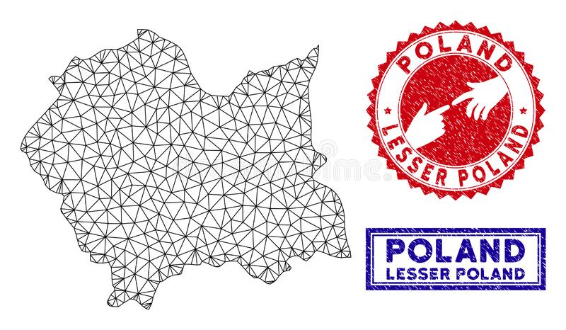 Polygonal Wire Frame Lesser Poland Voivodeship Map and Grunge Stamps vector illustration