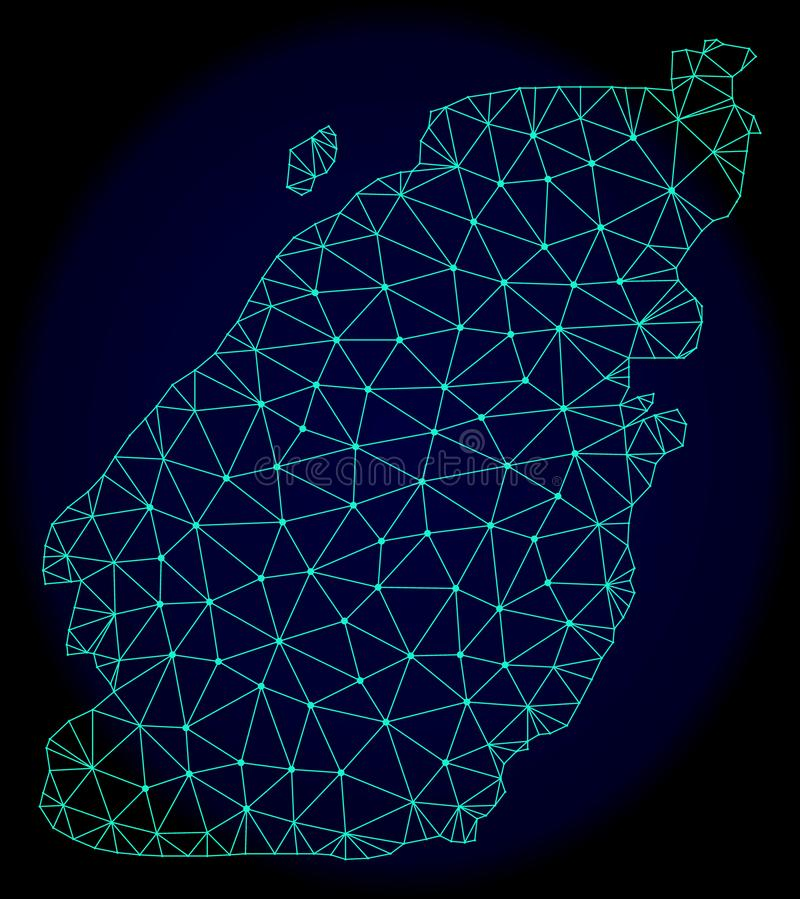 Polygonal Wire Frame Mesh Vector Abstract Map of Bowen Island. Polygonal vector mesh map of Bowen Island. Connected lines, triangles and points forms abstract royalty free illustration