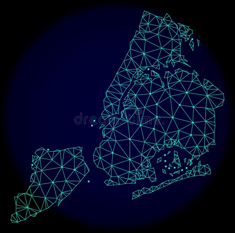 Polygonal Wire Frame Mesh Vector Abstract Map of New York City royalty free illustration