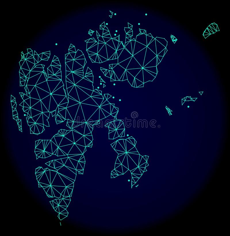 Polygonal Wire Frame Mesh Vector Abstract Map of Svalbard Islands vector illustration