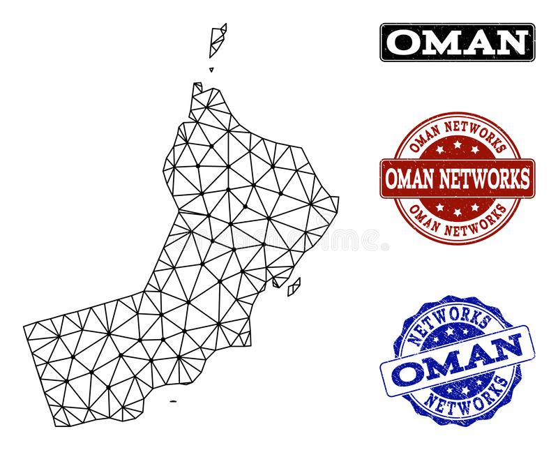 Polygonal Wire Frame Mesh Vector Map of Oman and Network Grunge Stamps vector illustration