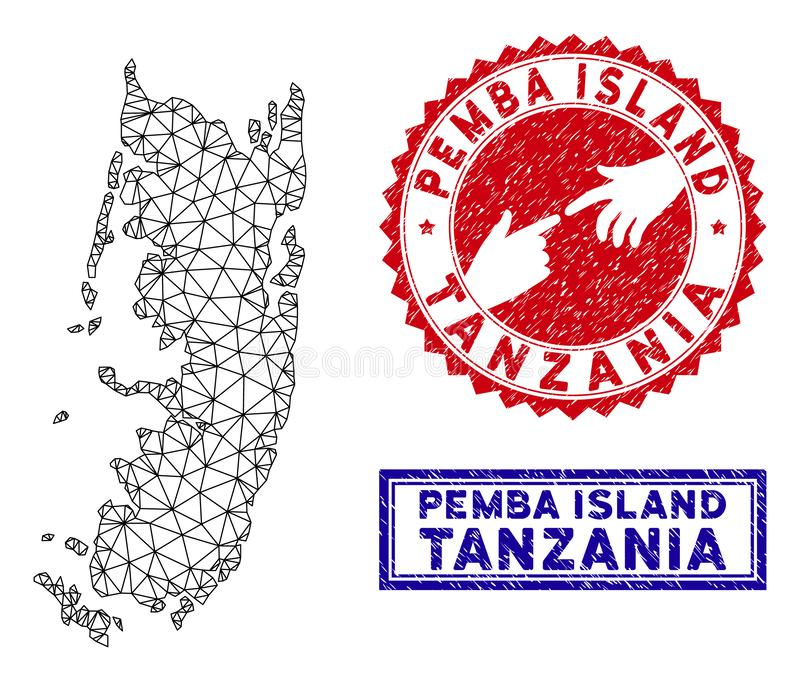 Polygonal Wire Frame Pemba Island Map and Grunge Stamps vector illustration