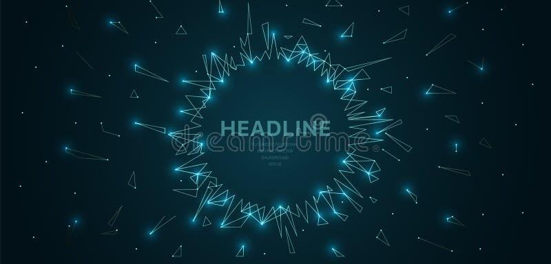 Polygonal wireframe kopplar ihop futuristiskt med cirkelramen, begreppstecken på mörk bakgrund Vektorlinjer, prickar och triangel stock illustrationer