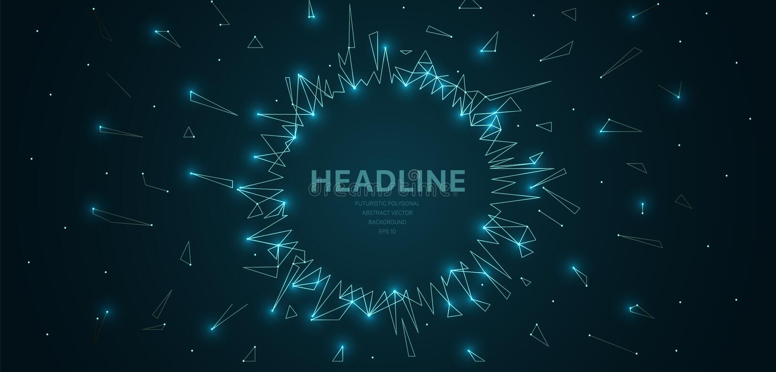 Polygonal wireframe mesh futuristic with circle frame, concept sign on dark background. Vector lines, dots and triangle shapes, stock illustration