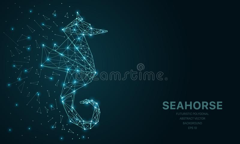 Polygonal wireframe mesh futuristic with seahorse, sign on dark background. Vector lines, dots and triangle shapes. Connecting network, digital molecules vector illustration