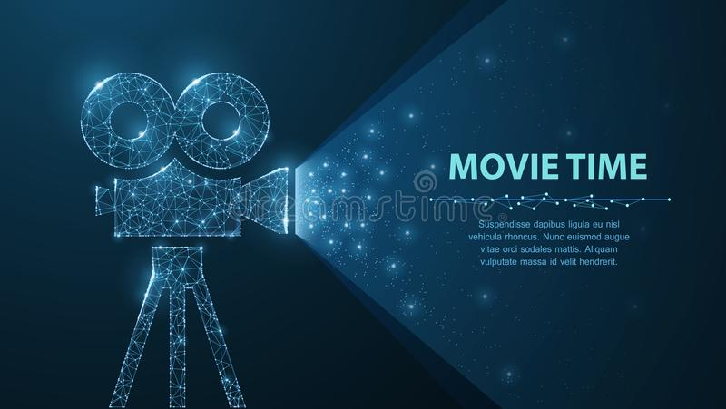 Polygonal wireframe movie projector show film at night on dark blue with stars in him light. stock illustration