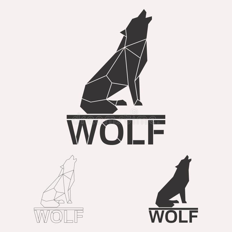 Polygonal wolf logo set vector illustration