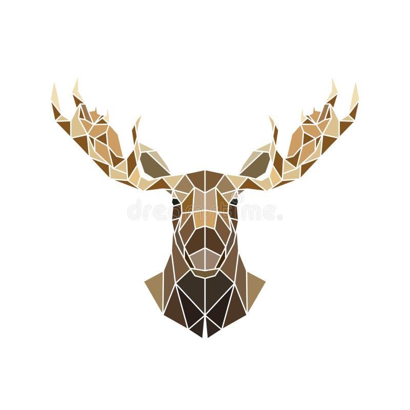 Polygonale Art, wildes Tier des Elchgesichtes stock abbildung