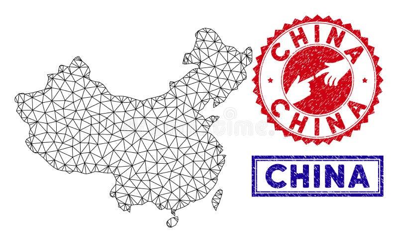 Polygonale 2D China-Karten-und -Schmutz-Stempel stock abbildung