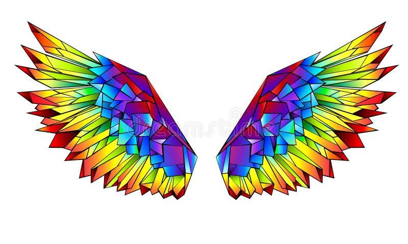 Polygonale Flügel des Regenbogens auf weißem Hintergrund lizenzfreie abbildung