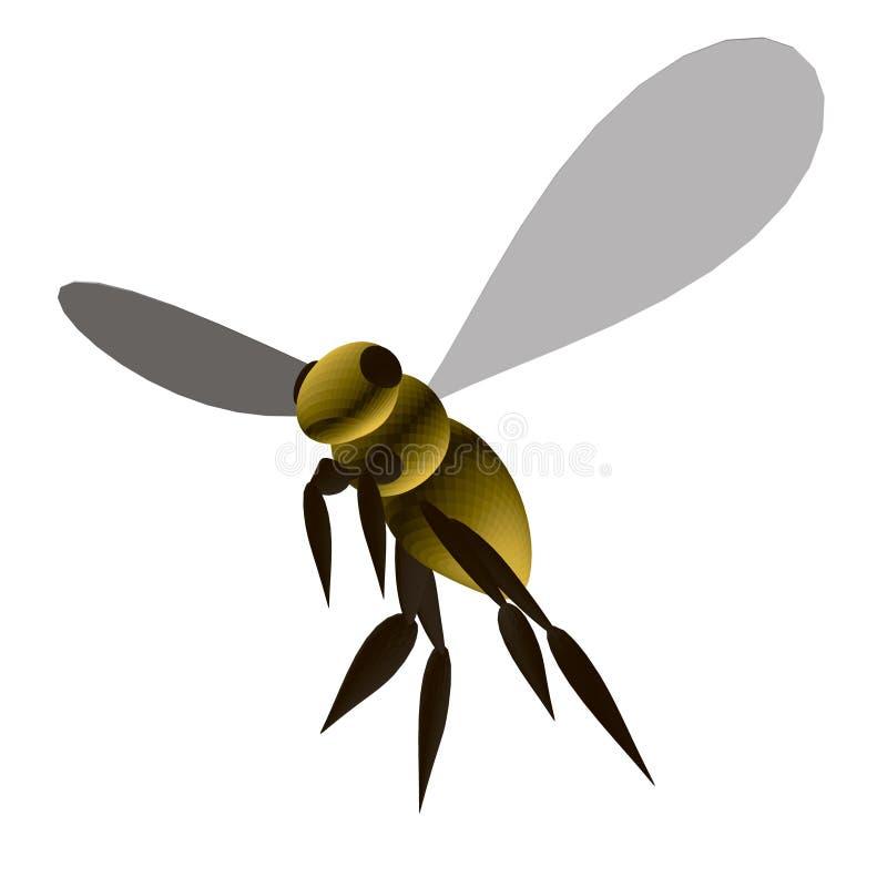 Polygonale gelbe Biene isoliert auf weißem Grund isometrisch 3D Vector-Illustration stock abbildung