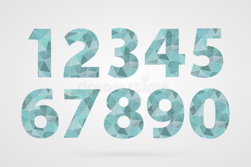 polygonale geometrische Nr. 1 2 3 4 5 6 7 8 9 0 Dekorative blaue Ikonen eingestellt stock abbildung