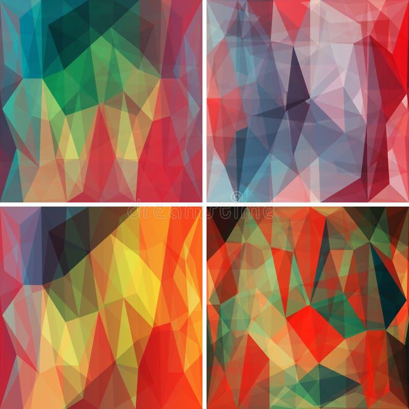 Polygonale Hintergründe eingestellt mit abstraktem mehrfarbigem Mosaik Vektor stock abbildung