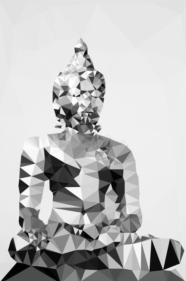 Polygonale Illustration der Statue von budha lizenzfreie abbildung