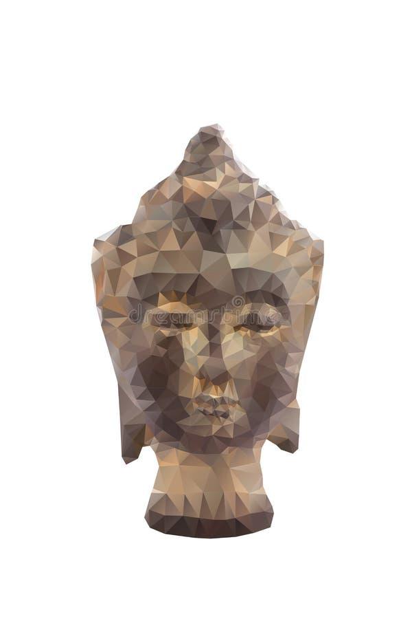 Polygonale Illustration der Statue von budha lokalisiert lizenzfreie abbildung