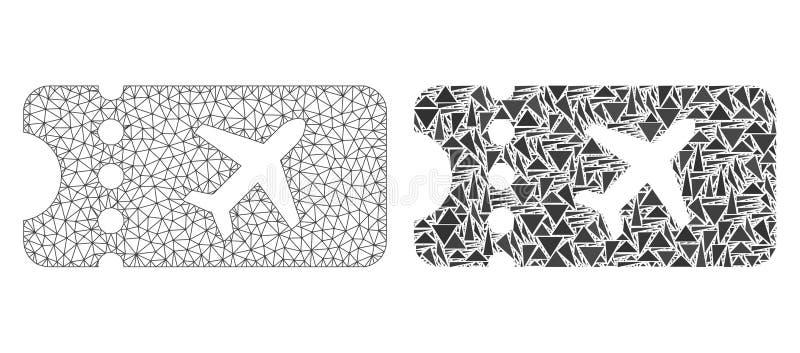 Polygonale Karkasse Mesh Air Ticket und Mosaik-Ikone lizenzfreie abbildung