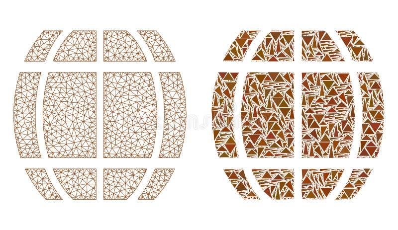 Polygonale Karkasse Mesh Barrel und Mosaik-Ikone lizenzfreie abbildung