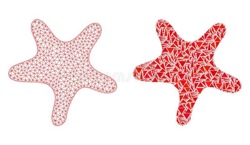 Polygonale Karkasse Mesh Bent Star und Mosaik-Ikone lizenzfreie abbildung
