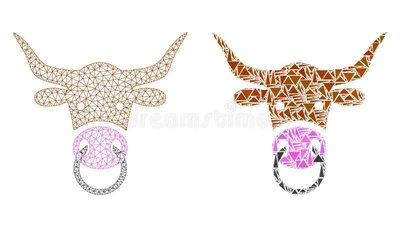 Polygonale Karkasse Mesh Bull Head und Mosaik-Ikone vektor abbildung