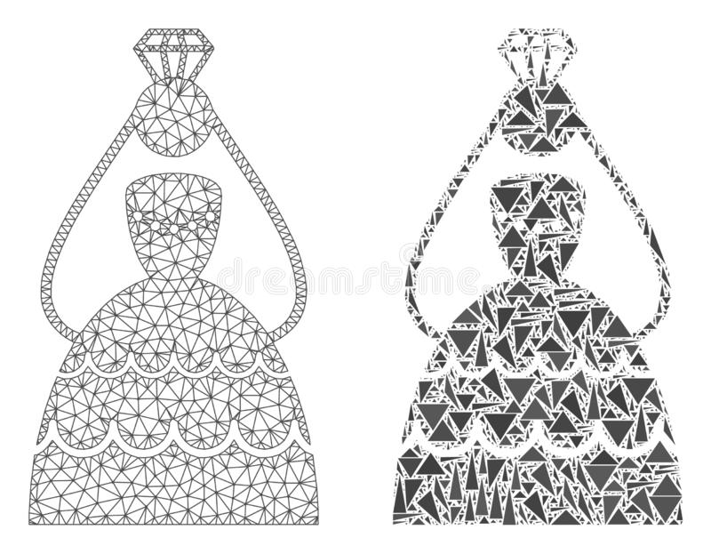 Polygonale Karkasse Mesh Crowned Bride und Mosaik-Ikone stock abbildung