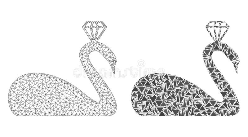 Polygonale Karkasse Mesh Crowned Swan und Mosaik-Ikone stock abbildung