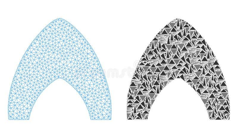 Polygonale Karkasse Mesh Igloo Home und Mosaik-Ikone vektor abbildung