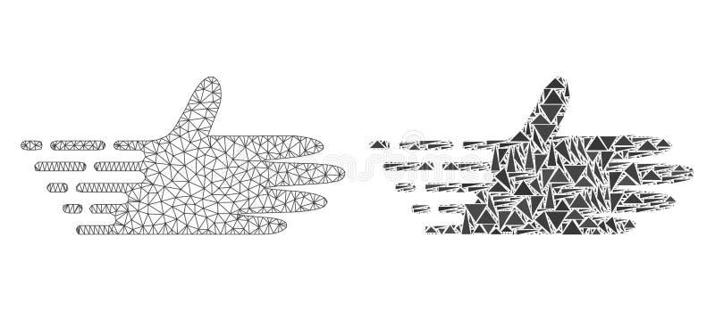 Polygonale Karkasse Mesh Moving Hand und Mosaik-Ikone lizenzfreie abbildung