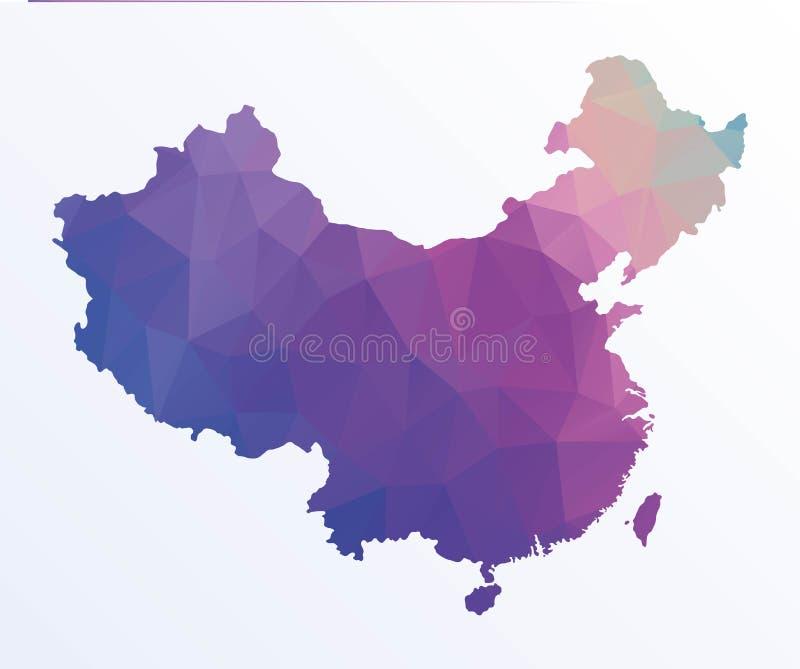 Polygonale Karte von China stock abbildung