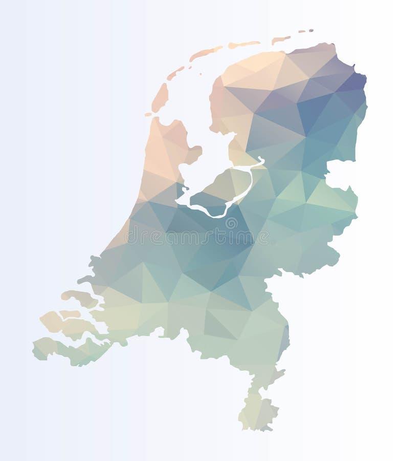Polygonale Karte von den Niederlanden lizenzfreie abbildung