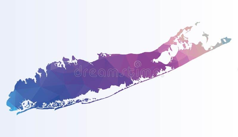 Polygonale Karte von Long Island lizenzfreie abbildung
