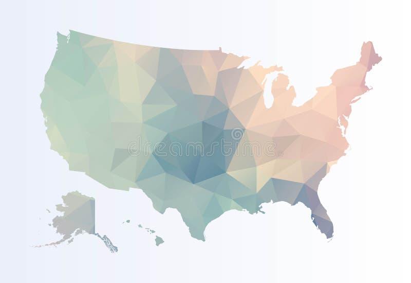 Polygonale Karte von USA stock abbildung
