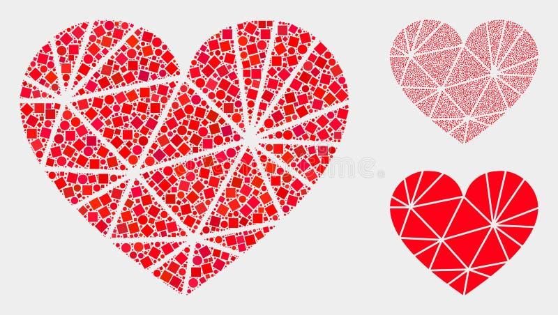 Polygonale Liebes-Herz-Ikonen-Collagen von Quadraten und von Kreisen stock abbildung